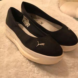 Puma Rave Black Satin Platform Shoes 7